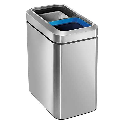 small recycling bins for kitchen lighting ideas best dual trash cans top 10 two compartment double can simplehuman open recycler bin