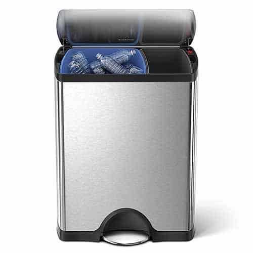 kitchen recycling bins sink amazon trash cans and what to look for simplehuman rectangular step can recycler