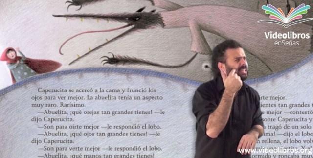 Videolibros es un proyecto de libros accesibles en formato de video para personas con discapacidad auditiva. En la imagen se ve una captura de pantalla de uno de los videos, en la que un intérprete de Lengua de Señas Argentina narra un videolibro. / Foto: Canales Asociación Civil
