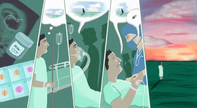 Ilustración sobre el proceso de eutanasia.