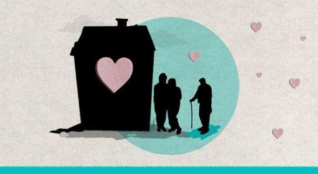 Ilustración de una casa, un matrimonio y una persona mayor al lado.