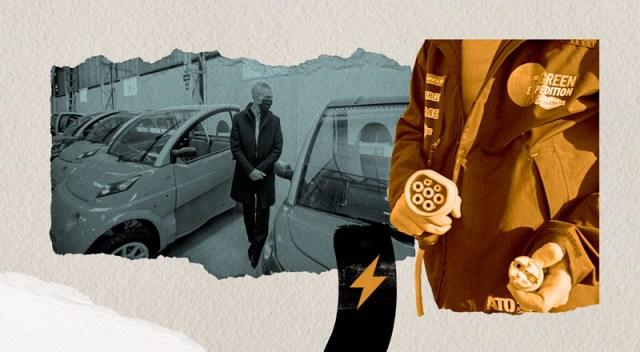 Autos eléctricos y personas que los cargan.