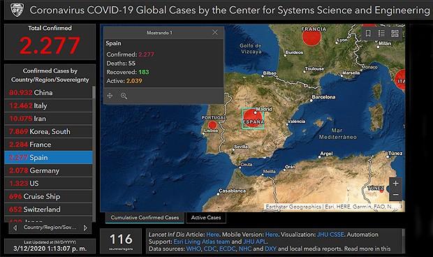 DIRECTO   mapa del coronavirus Covid-19 de la Johns Hopkins