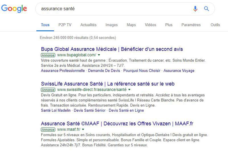 Les annonces sponsorisées font passer les résultats du référencement naturel bien plus bas dans les résultats de recherche Google
