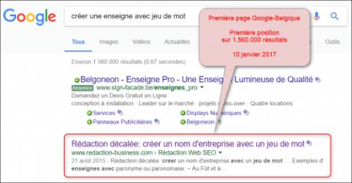 Go SEO - résultat Google - enseigne avec jeu de mot