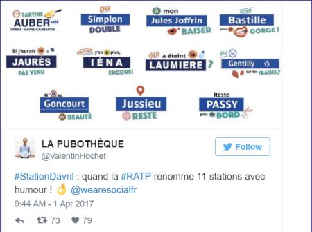 RATP - Capture tweet - promotion decalee