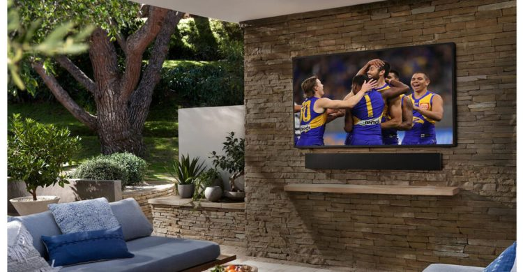 Samsung The Terrace TV wall mounted outdoors