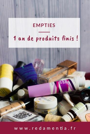 Empties, un an de produits terminés pinterest RED AMENTIA
