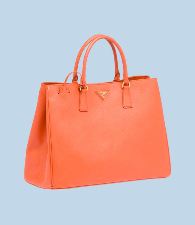 Prada shopping Galleria in pelle color papaya