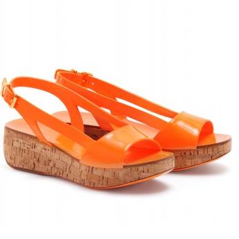 Miu Miu sandali con zeppa in sughero fluo