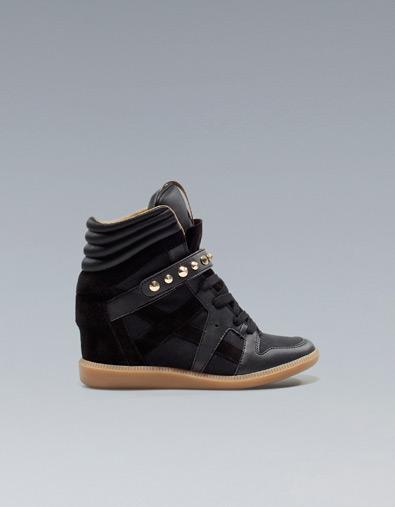 Zara sneakers con zeppa interna e borchie