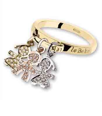 Le Bebe' anello con ciondoli in diamanti a forma di bimbi