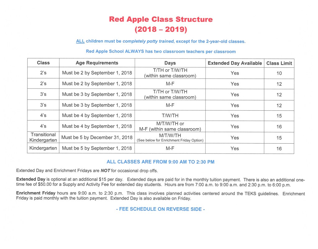 red apple class structure 2018-2019