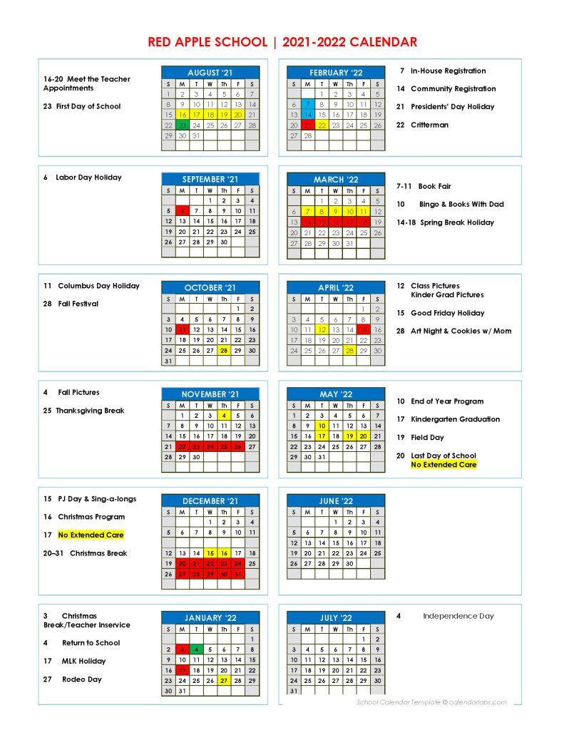 Red Apple Calendar 2021-22