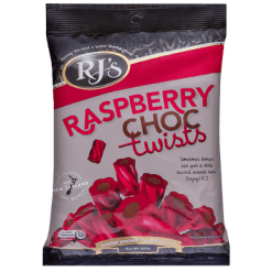RJ's Licorice Raspberry Choc Twists - 280g