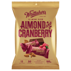 Whittaker's Mini Slab Almond & Cranberry - 12pk
