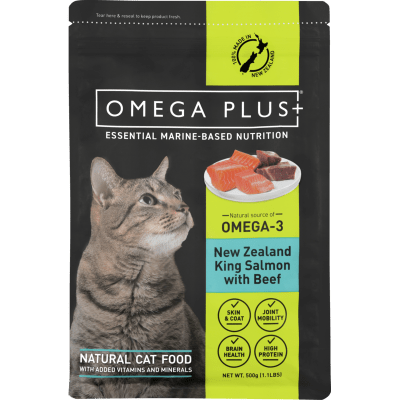 Omega Plus New Zealand King Salmon With Beef Natural Cat Food - 500g