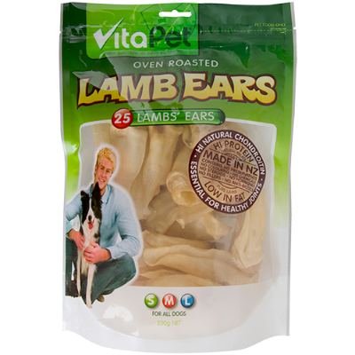 VitaPet Oven Roasted Lamb Ears For All Dogs - 200g