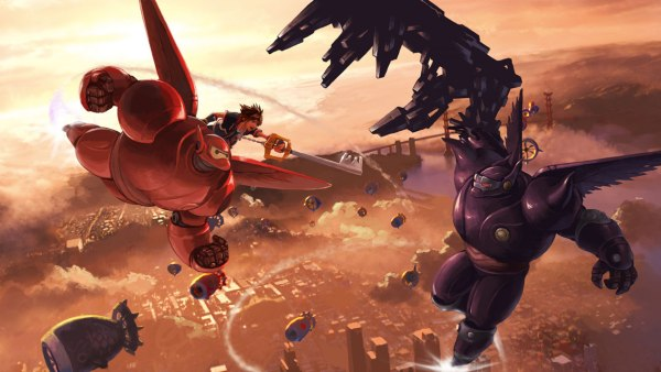 Kingdom Hearts 3 screenshot featuring Beymax from Big Hero 6 being ridden by sora