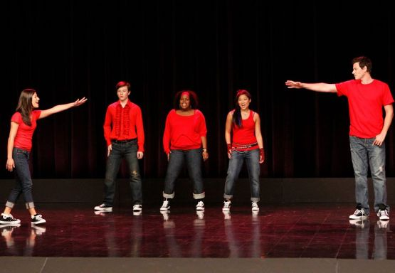Five members of Glee Club from Glee, one of Redbrick's teen show picks
