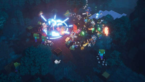 Players battle a zombie horde in Minecraft Dungeons