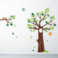 Jungle Tree Wall Sticker - cartoon tree and birds wall decor