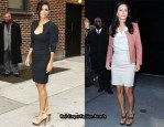 "Courteney Cox On ""Letterman"" & ""Good Morning America"" In Roland Mouret & Jimmy Choo"