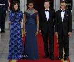 Samantha Cameron In Alessandra Rich & Michelle Obama In Marchesa - White House State Dinner