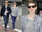 Anne Hathaway In Theyskens' Theory - London Heathrow Airport