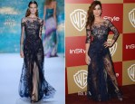 Bérénice Marlohe In Monique Lhuillier - Warner Bros. and InStyle Golden Globe Awards After Party