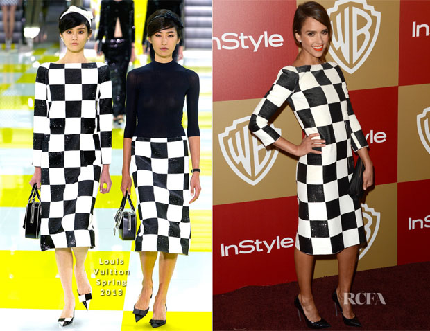 Jessica Alba In Louis Vuitton - Warner Bros And InStyle Golden Globe Awards After Party