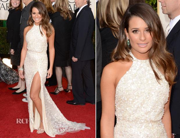 Lea Michele In Elie Saab - 2013 Golden Globes Awards