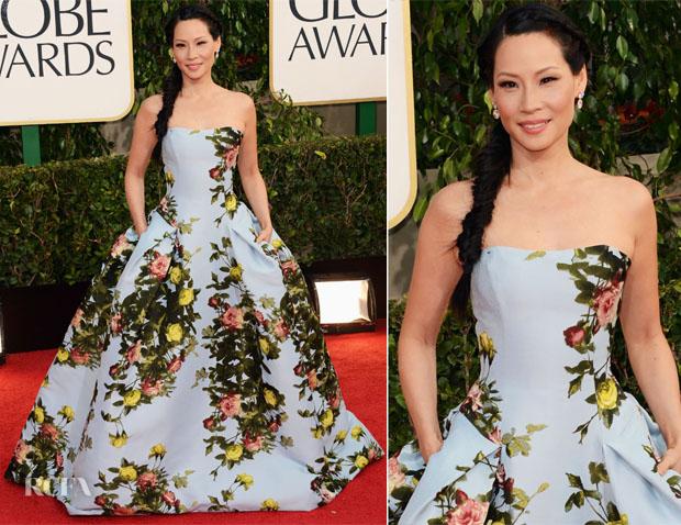 Lucy Liu In Carolina Herrera - 2012 Golden Globe Awards