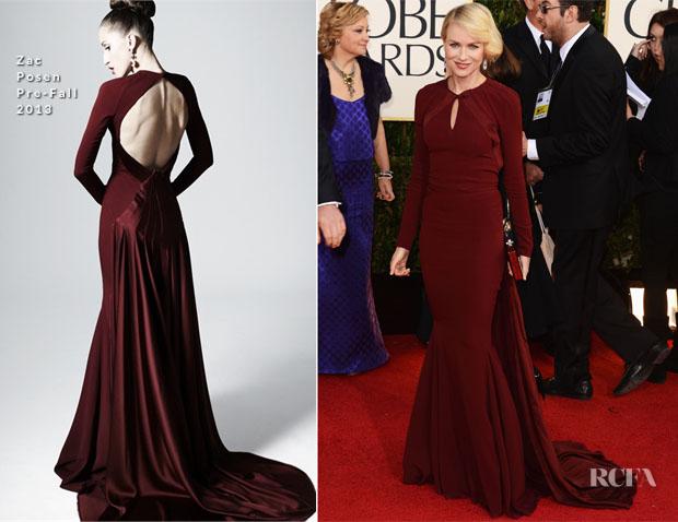 Naomi Watts in Zac Posen - 2013 Golden Globe Awards