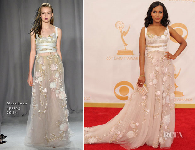 Kerry Washington In Marchesa - 2013 Emmy Awards