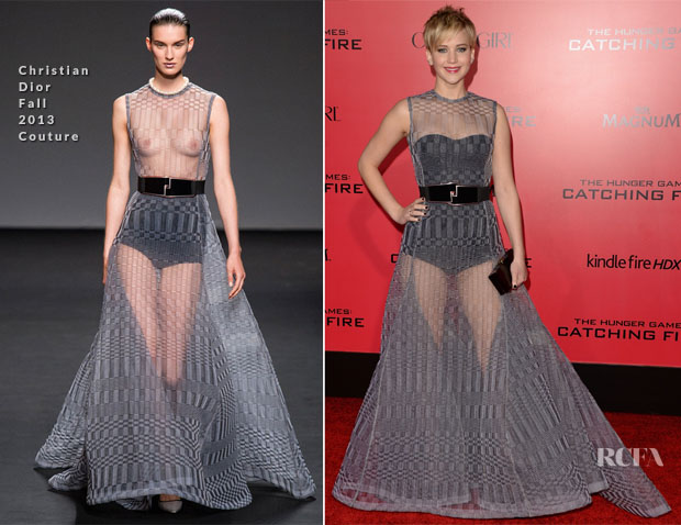 Jennifer Lawrence In Christian Dior Couture - 'The Hunger Games Cathching Fire' LA Premiere