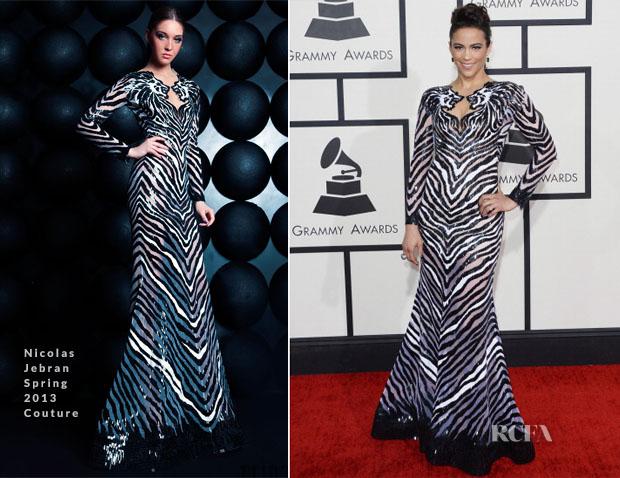 Paula Patton In Nicolas Jebran Couture - 2014 Grammy Awards
