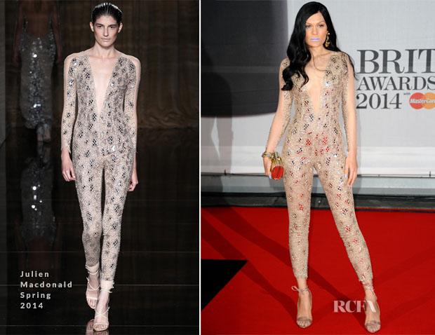 Jessie J In Julien Macdonald - Brit Awards 2014