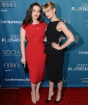 Kat Dennings In Stop Starring & Beth Behrs In Moschino - Backstage At The Geffen Annual Fundraiser