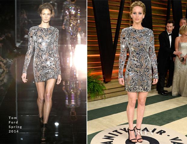 Jennifer Lawrence In Tom Ford - Vanity Fair Oscar Party 2014