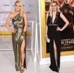 Jessica Simpson In Vintage & Ashlee Simpson In Cengiz Abazoglu - 'The Hunger Games: Mockingjay - Part 1' LA Premiere