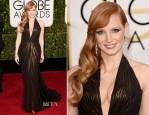 Jessica Chastain In Atelier Versace - 2015 Golden Globe Awards