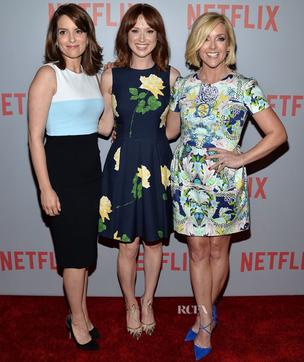 """WEST HOLLYWOOD, CA - JUNE 07:  (L-R) Actresses Tina Fey, Ellie Kemper and Jane Krakowski arrive at Netflix's """"Unbreakable Kimmy Schmidt"""" For Your Consideration Q&A screening event at Pacific Design Center on June 7, 2015 in West Hollywood, California.  (Photo by Amanda Edwards/WireImage)"""