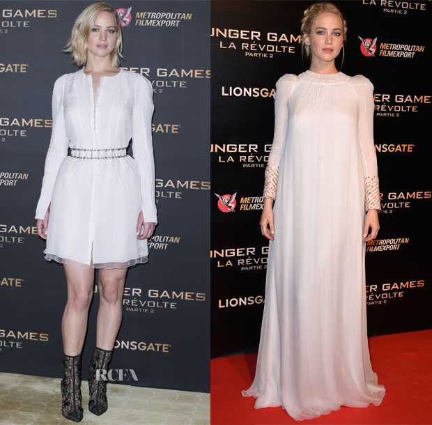 Jennifer Lawrence In Christian Dior Couture - 'Hunger Games  Mockingjay Part 2' Paris Photocall & Premiere