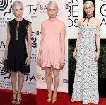 Michelle Williams In Louis Vuitton -  New York Film Critics Circle Awards, BAFTA Tea Party & Golden Globe Awards