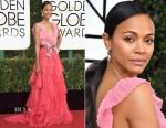 Zoe Saldana In Gucci & J. Mendel Couture - 2017 Golden Globe Awards & 'Live by Night' LA Premiere