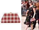 Anne Hathaway's Mansur Gavriel checker volume clutch