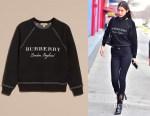 Bella Hadid's Burberry topstitch detail wool cashmere sweatshirt