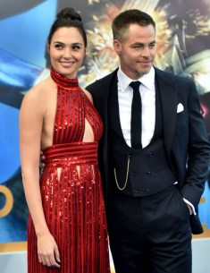 Gal Gadot in Givenchy and Chris Pine in Giorgo Armani