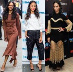 Zoe Saldana In Sies Marjan & Alexander McQueen  - Good Morning America, SiriusXM & 'Guardians Of The Galaxy Vol. 2' New York Screening